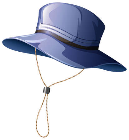 Blue hat with string illustration
