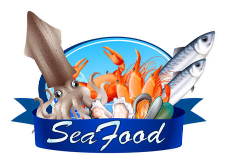 seafood: Seafood label with assorted seafood illustration