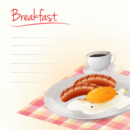 yum: Breakfast with eggs and coffee illustration