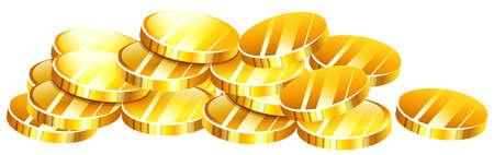 golden coins: Pile of golden coins illustration