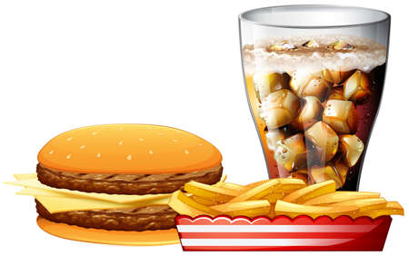 burger and fries: Burger, fries and a cola illustration