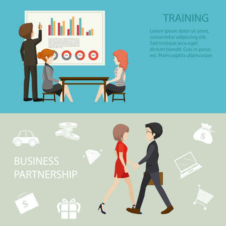 business meeting: Business meeting style infographic illustration