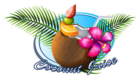 garnish: Coconut sign with text illustration