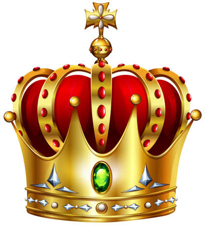 crown: Golden crown with cross illustration Illustration