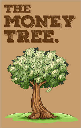idioms: Money growing on a tree illustration