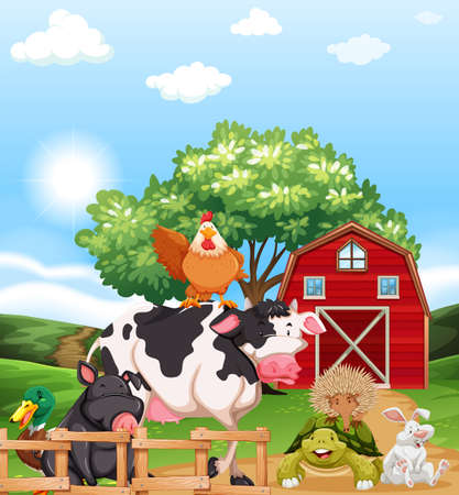 Mixed animals at a farm illustration