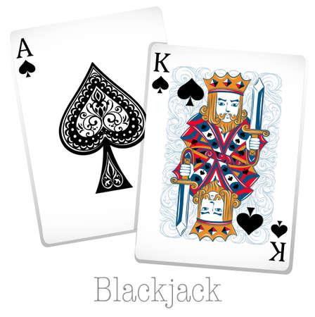 blackjack: Blackjack cards with king and ace illustration