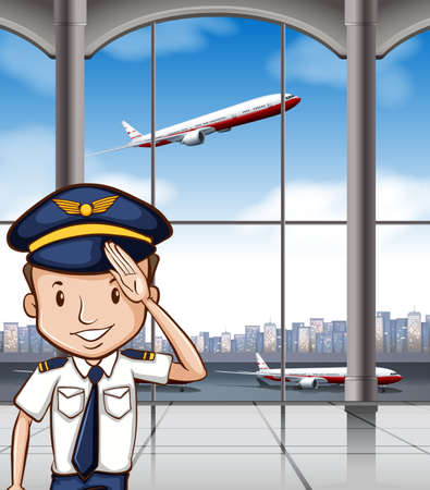 flying hat: Airline captain at airport illustration Illustration