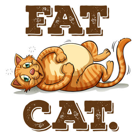 joking: Fat cat with text illustration