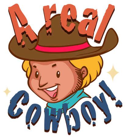 men shirt: Real cowboy with text illustration Illustration