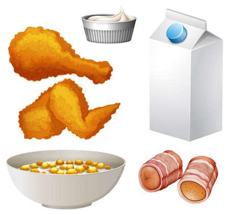 cereal: Assorted food and drink illustration Illustration