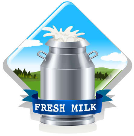 fresh milk: Fresh milk with text illustration Illustration