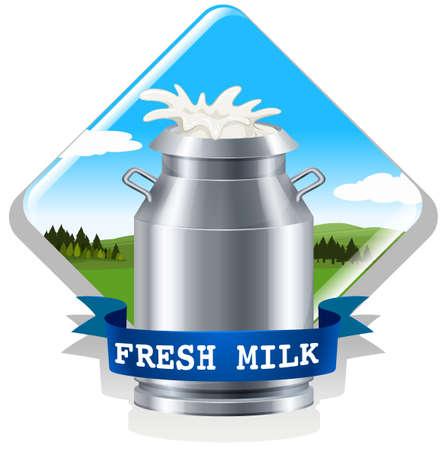 latte fresco: Latte fresco con l'illustrazione del testo