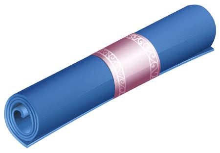 mat: Rolled yoga mat on white illustration