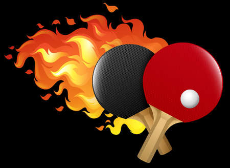 set table: Flaming table tennis set illustration