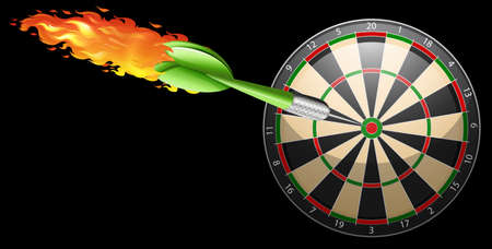 bullseye: Flaming dart and board illustration Illustration