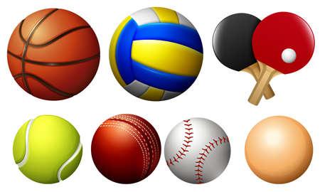 balones deportivos: Se divierte bolas en blanco Ilustración