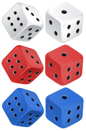six objects: Dice set on white illustration