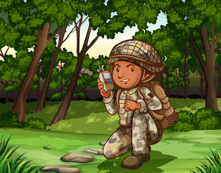men cartoon: Soldier in forest on radio illustration