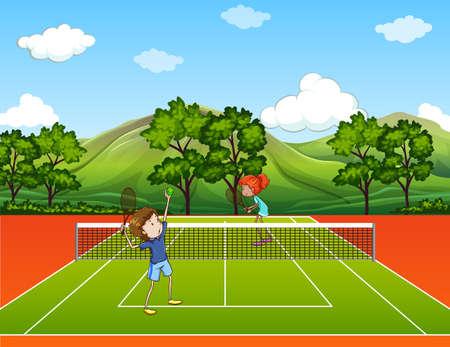 公園のイラストではテニスの子供  イラスト・ベクター素材