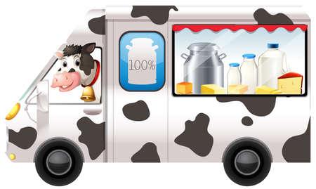 queso blanco: Vaca lechera en una ilustración de camiones