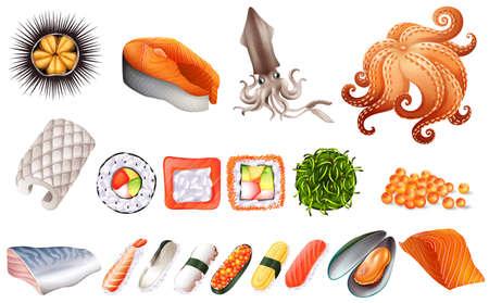 comida japonesa: Sushi y juego de marisco ilustración