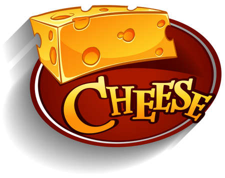 swiss cheese: Cheese lofo with text illustration