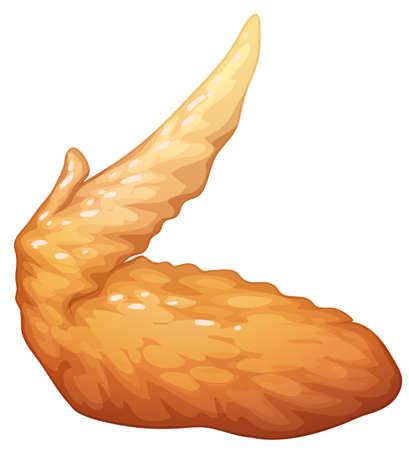pollo: Individual frito ilustración ala de pollo