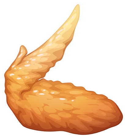 Single fried chicken wing illustration