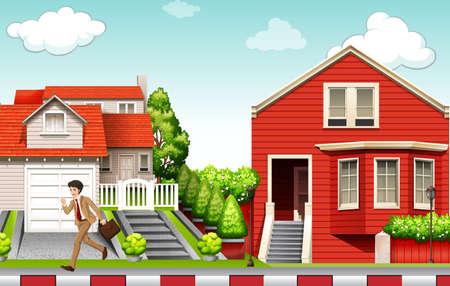 commute: Man running from house illustration