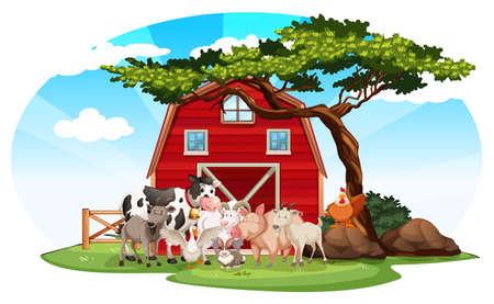 Scène van het landbouwbedrijf met dieren illustratie