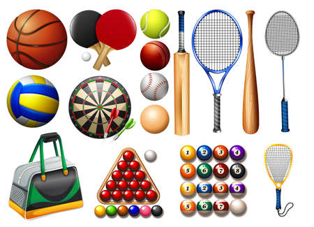 sports equipment: Sports equipment and balls illustration