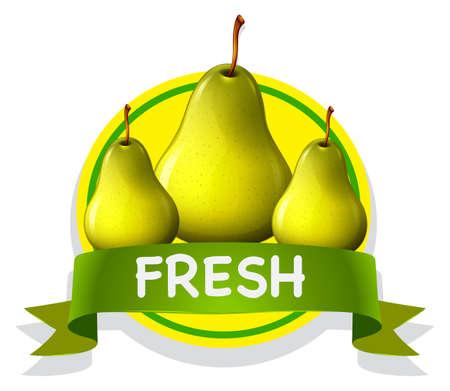 pears: Fresh food label with pears illustration Illustration