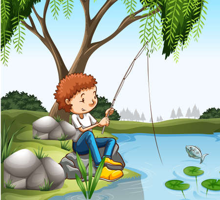 fish pond: Young boy fishing in pond illustration
