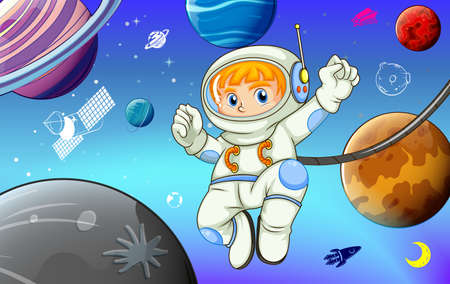 Astronaut with planets in space illustration Illustration
