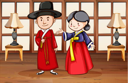 korean style house: Korean style characters in house illustration