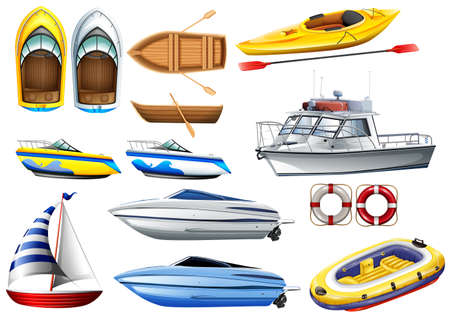 in row: Barcos de diferentes tamaños ilustración Vectores