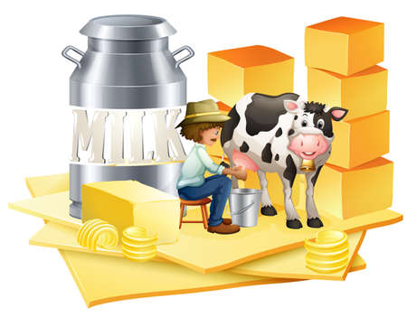 milking: Dairy farmer with cheese illustration
