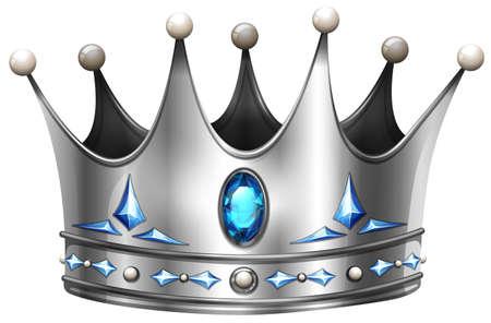 Silver crown on white illustration