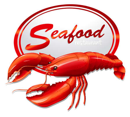 fresh seafood: Fresh seafood with lobster illustration