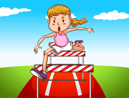 hurdles: Girl jumping hurdles on track illustration Illustration