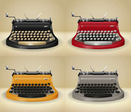 typewriter machine: Retro typewriters on grunge background illustration Illustration