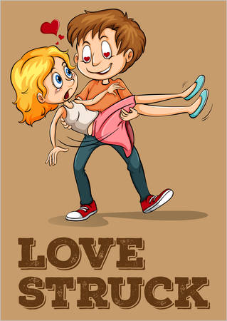 struck: Love struck couple idiom illustration