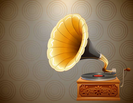 clipart speaker: Retro style gramophone on pattern background illustration