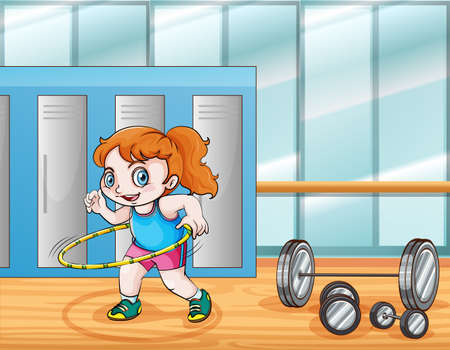 working out: Young girl working out illustration Illustration