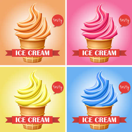 brown sugar: Ice creams in set of 4 illustration