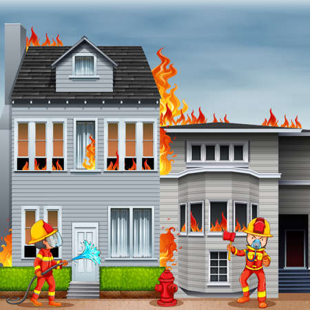 house on fire: Firemen at the scene of house fire illustration