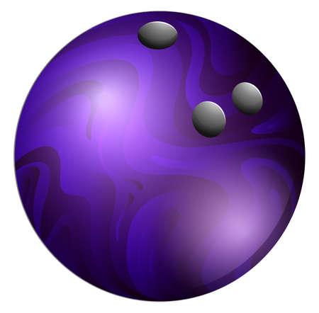 ten pin bowling: Purple bowling ball on white illustration Illustration