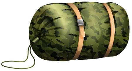 sleeping bags: Camouflage sleeping bag on white illustration