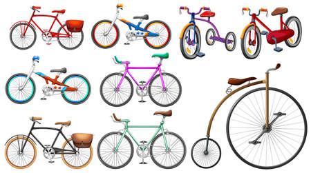 Bike set on white illustration